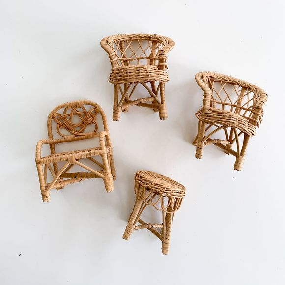 Vintage Other - Vintage Boho Wicker Rattan Doll Table & Chairs Set